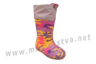 Резиновые сапоги для девочки AlisaLine A301 Милитари цветной