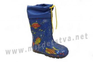 Резиновые сапоги для мальчика AlisaLine A301 Рыбки на синем