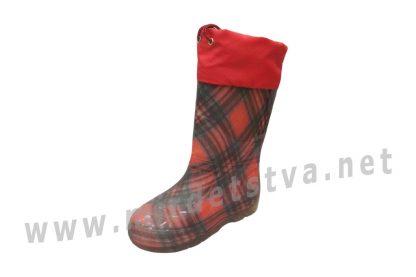 Резиновые сапоги для девочки AlisaLine A301 Шотландка мини красная