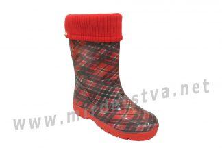 Резиновые сапоги AlisaLine Color401 Шотландка мини красная