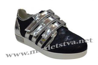 Кроссовки на липучке на девочку М-Д 6797-N темно-синего цвета