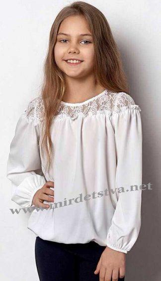 Блузка с кружевом для девочки Mevis 2359-01 молочного цвета