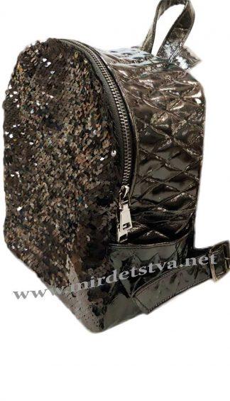 Черный рюкзак с пайетками Tops ромб