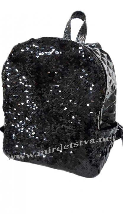 Кожаный черный рюкзак с пайетками Tops ромб