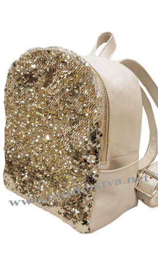 Кожаный рюкзак с пайетками Tops золото