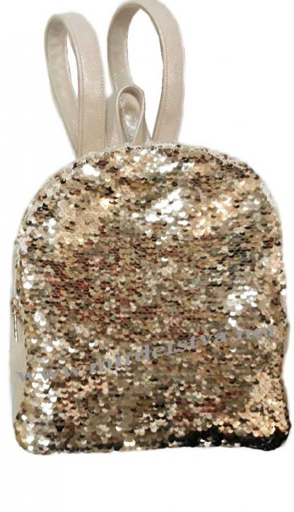 Бежевый рюкзак с пайетками Tops золото