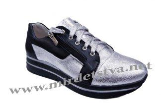 Кроссовки кожаные Tops 730-21 серебро