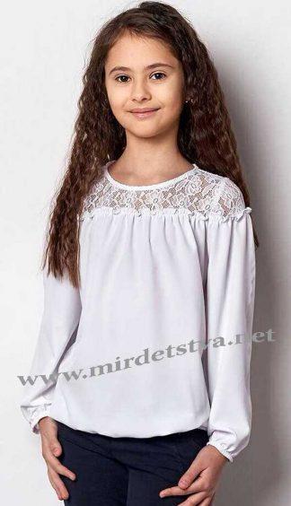 Нарядная блуза для девочки Mevis 2359-02 белого цвета