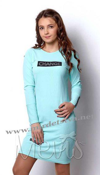 Платье подростковое для девочки Mevis 2421-03 бирюзового цвета