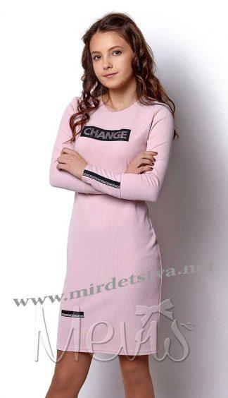 Платье-туника для девочки Mevis 2421-01 розового цвета