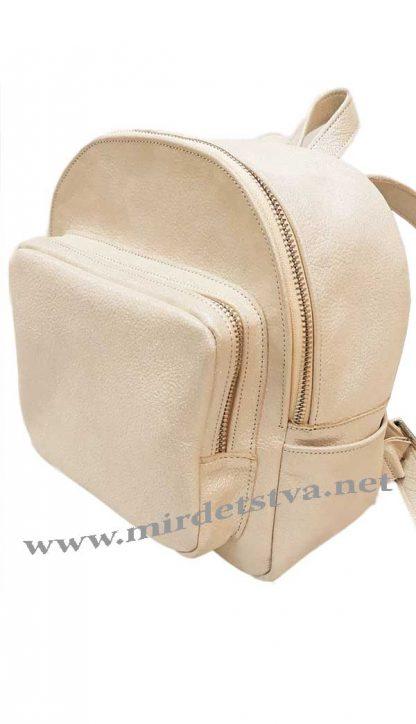 Бежевый кожаный рюкзак Tops кристалл