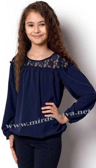 Синяя блуза для девочки Mevis 2359-03 c длинным рукавом