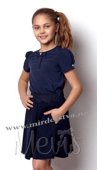 Блузка с коротким рукавом Mevis 2304-03 синяя