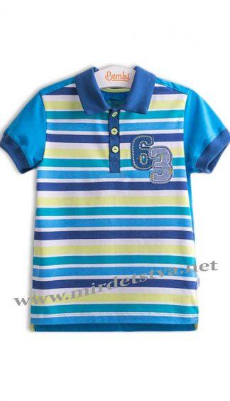 Футболка-поло летняя Бемби ФБ528 синяя в полоску