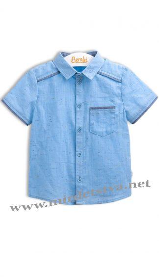 Льняная рубашка на мальчика Бемби РБ87 голубая