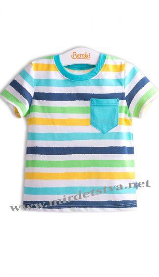 Разноцветная футболка для мальчика Бемби ФБ538 в полоску