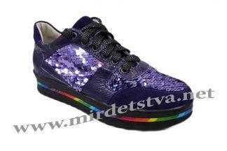 Фиолетовые кроссовки с пайетками Tops Д749-71