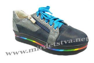 Кожаные кроссовки на девочку Tops Д730-71 серо-синие