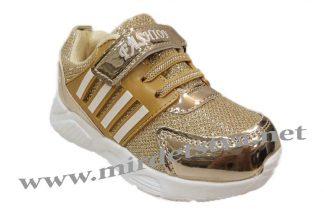 Кроссовки блестящие на девочку Ytop 352-20 золото