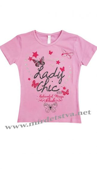 Розовая футболка на девочку Difa 17082