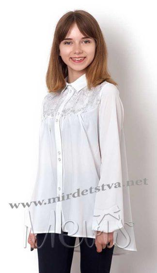 Блуза для школьницы-подростка Mevis 2480-03 молочно-белого цвета