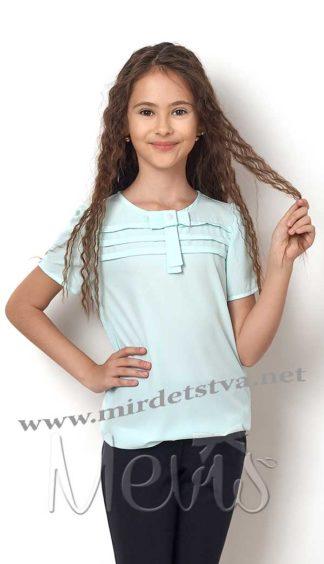 Блузка голубого цвета Mevis 2304-04 шифоновая с коротким рукавом