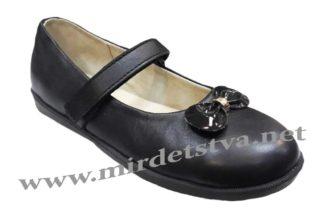 Кожаные туфли для школьницы Tops Д525Б черного цвета