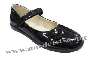 Лаковые туфли для первоклассницы Tops Д525 Цветок черного цвета