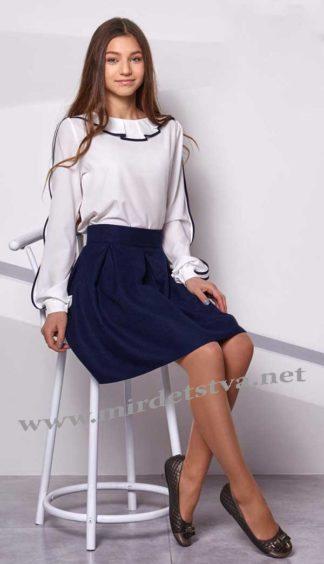 Синяя подростковая юбка на школу Mevis 2312-03