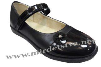Школьные туфельки на девочку Tops Д527 Цветок черного цвета