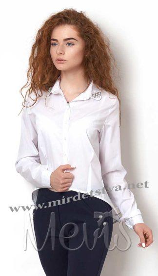Рубашка с украшением на подростка Mevis 2372-01 белого цвета