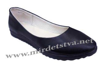 Черные кожаные балетки Tops 010