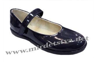Лаковые синие туфли для девочки Tops Д525