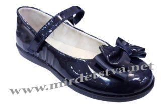 Лаковые туфли синие Tops Д525 Бант