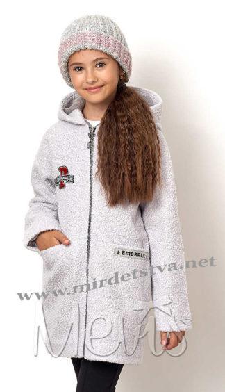 Модное серое пальто на девочку Mevis 7011-01