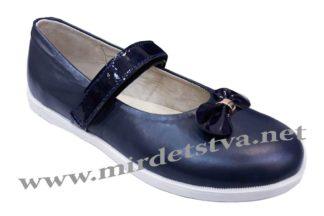 Синие школьные туфли с бантиком Tops Д525Б