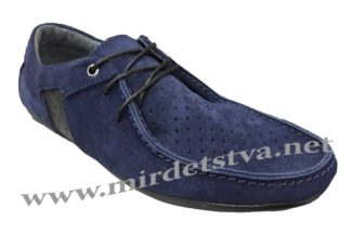 Синие замшевые мокасины со шнуровкой Golovin 336-2-22P