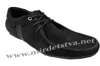 Замшевые черные мокасины на шнуровке Golovin 336-2-10P