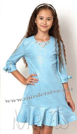 Нарядное платье для девочки Mevis 2556-02 голубого цвета