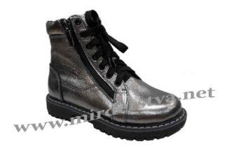 Осенние ботинки на девочку или подростка темное серебро Д-735.Н