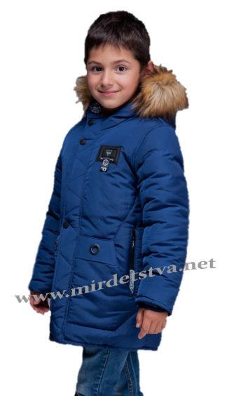Синяя зимняя куртка на флисе для мальчика Kidzo 30