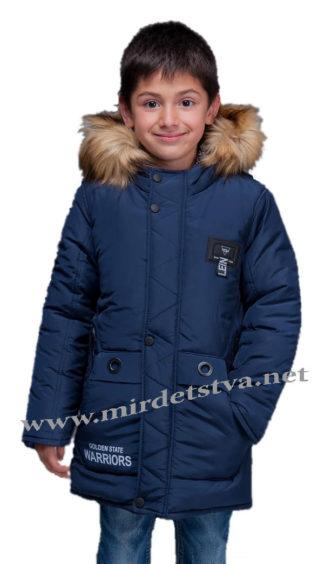 Синяя зимняя куртка с подстежкой для мальчика Kidzo 30