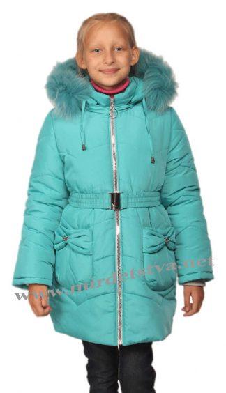 Бирюзовое детское зимнее пальто для девочки Nestta Bantik