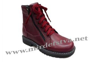 Фото бордовые демисезонные кожаные ботинки на девочку Tops Д-735.Н