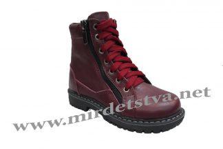 Бордовые зимние кожаные ботинки для девочек Tops ЗД-735Н