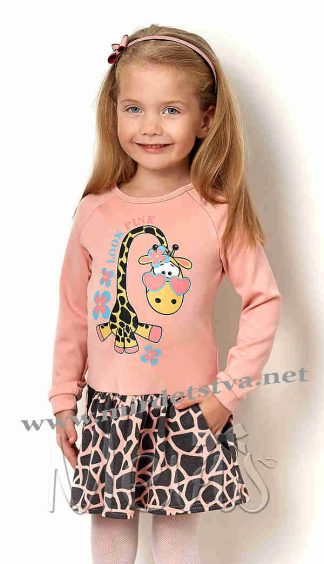 Персиковое платье с жирафом для девочки Mevis 2568-01