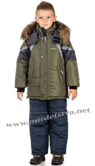 Зимняя куртка на мальчика защитного цвета Traveler Аляска