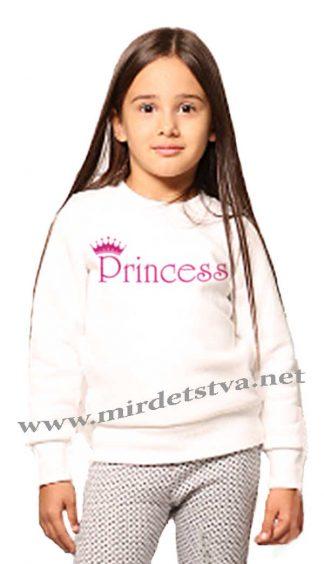 Детский белый свитшот с начесом для девочки Овен Бидди 18Д-281-11