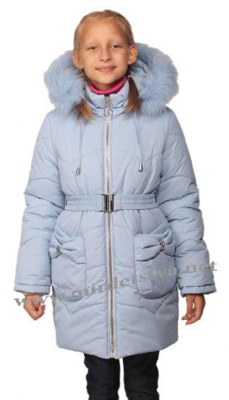 Голубая теплая удлиненная куртка для девочек Nestta Bantik