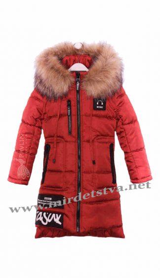 Красное зимнее пальто для девочки Pavlin Music